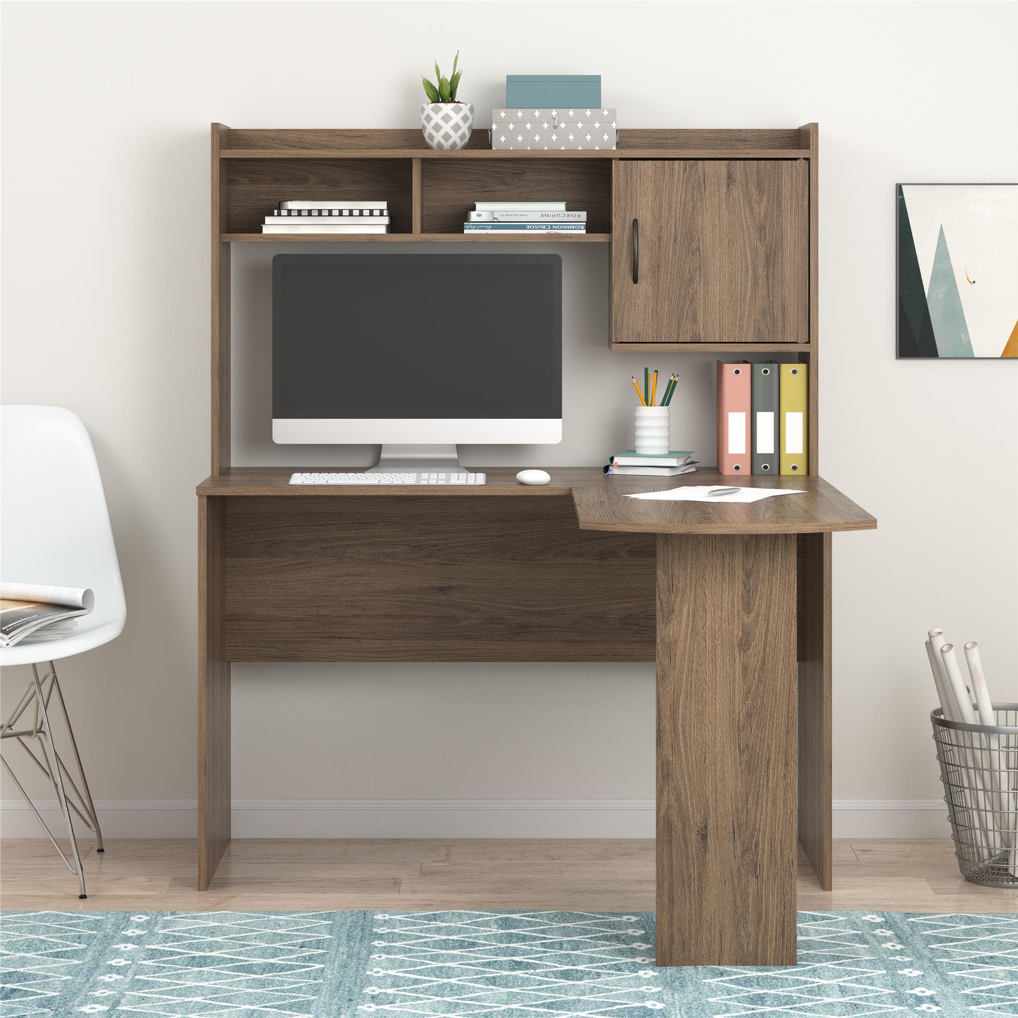 Mainstays L-Shaped Desk with Hutch, White/Rustic Oak/ Espresso/Rustic Oak/Black Oak $59