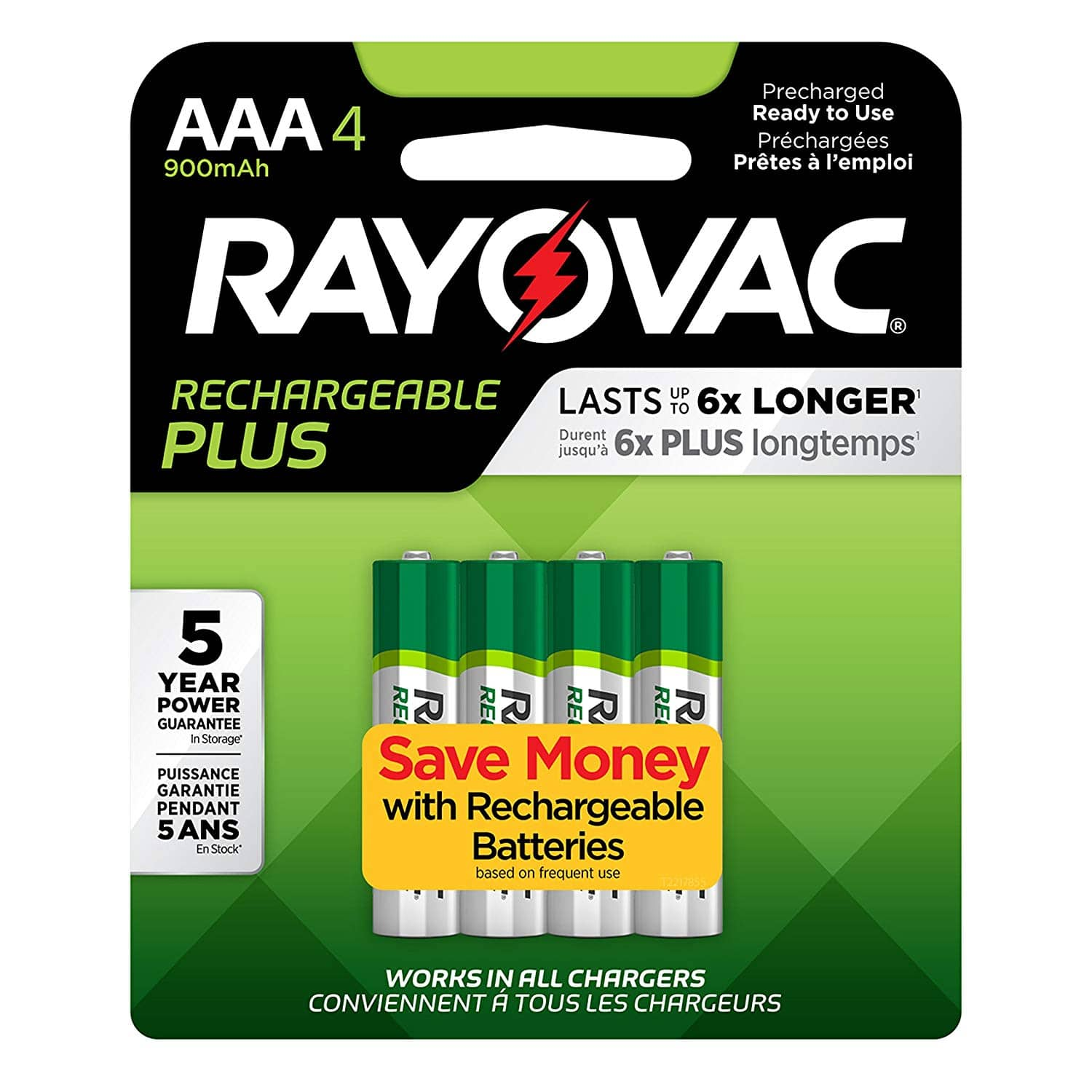 Rayovac Rechargeable AAA Batteries, High Capacity Rechargeable Plus AAA Batteries (4 Count) $5.45