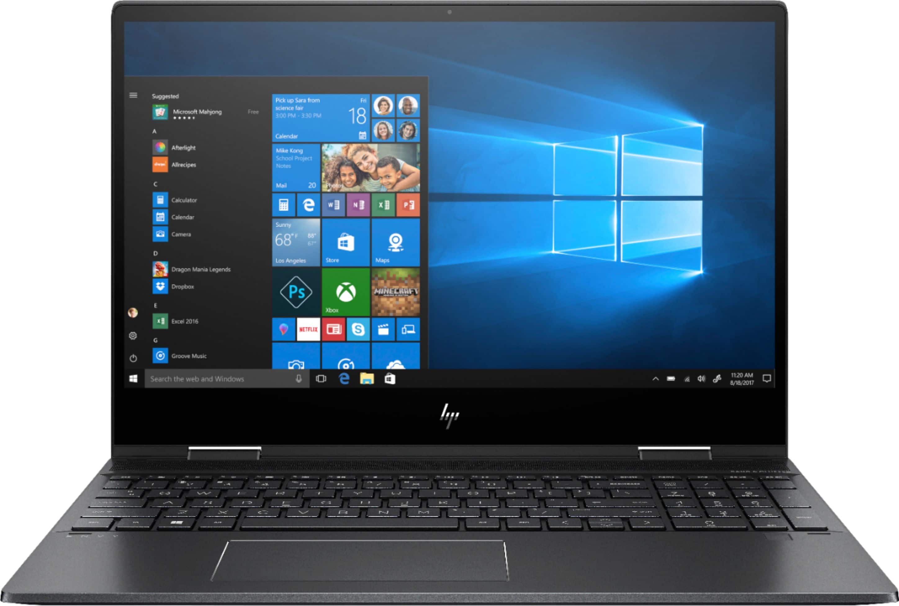 "HP - ENVY x360 2-in-1 15.6"" Touch-Screen Laptop - AMD Ryzen 7 - 8GB Memory - AMD Radeon RX Vega 10 - 256GB SSD - Sandblasted Anodized Finish, Nightfall Black $650"