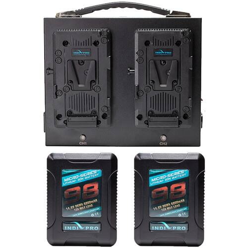 IndiPRO Tools Micro-Series 98Wh Li-Ion Battery Kit with Dual Fusion Charger (V-Mount) $449