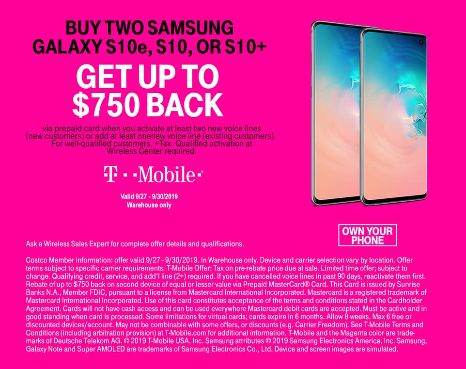 Buy 2 Samsung s10,s10e,s10+ and get $750 back  -Costco