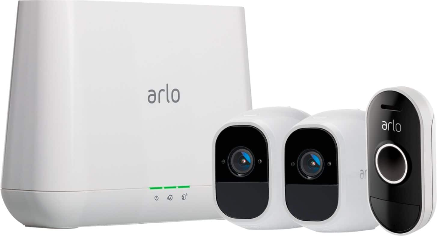 Arlo - Pro 2 Indoor/Outdoor 1080p Wi-Fi Wire-Free Security Camera (2-Pack) with Audio Doorbell $300