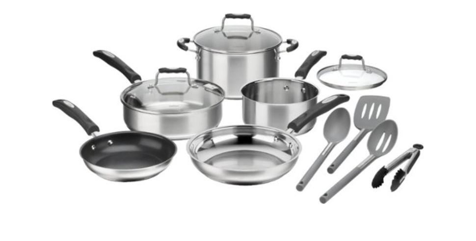 Cuisinart - 12-Piece Cookware Set - Stainless Steel $80