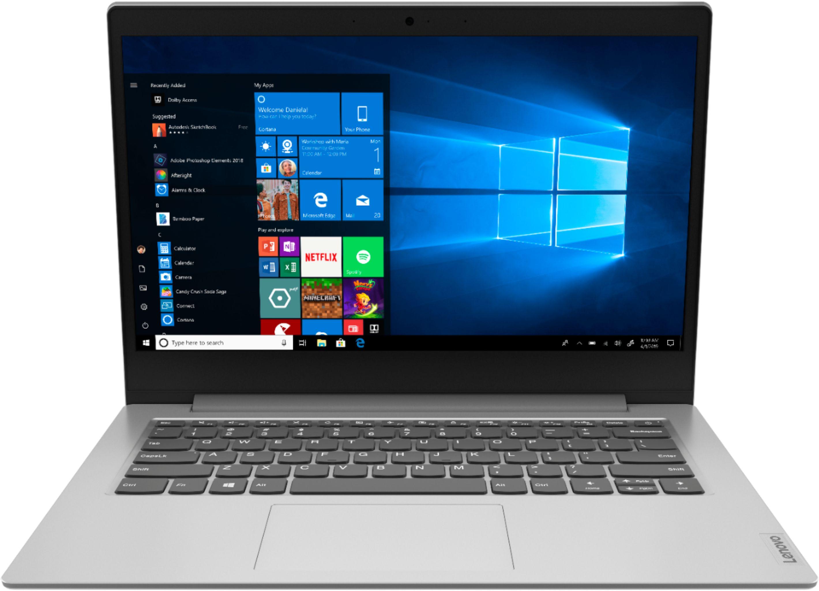 "Lenovo IdeaPad 1 14"" Laptop AMD A6-Series 4GB Memory AMD Radeon R4 64GB eMMC Flash Memory Platinum Gray 81VS0001US - Best Buy $130"