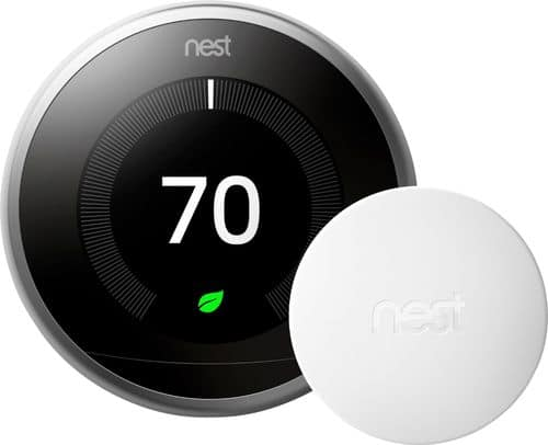 Nest 3rd Generation Learning Programmable Wi-Fi Thermostat with Temperature Sensor Stainless Steel BH1253-US - Best Buy $190
