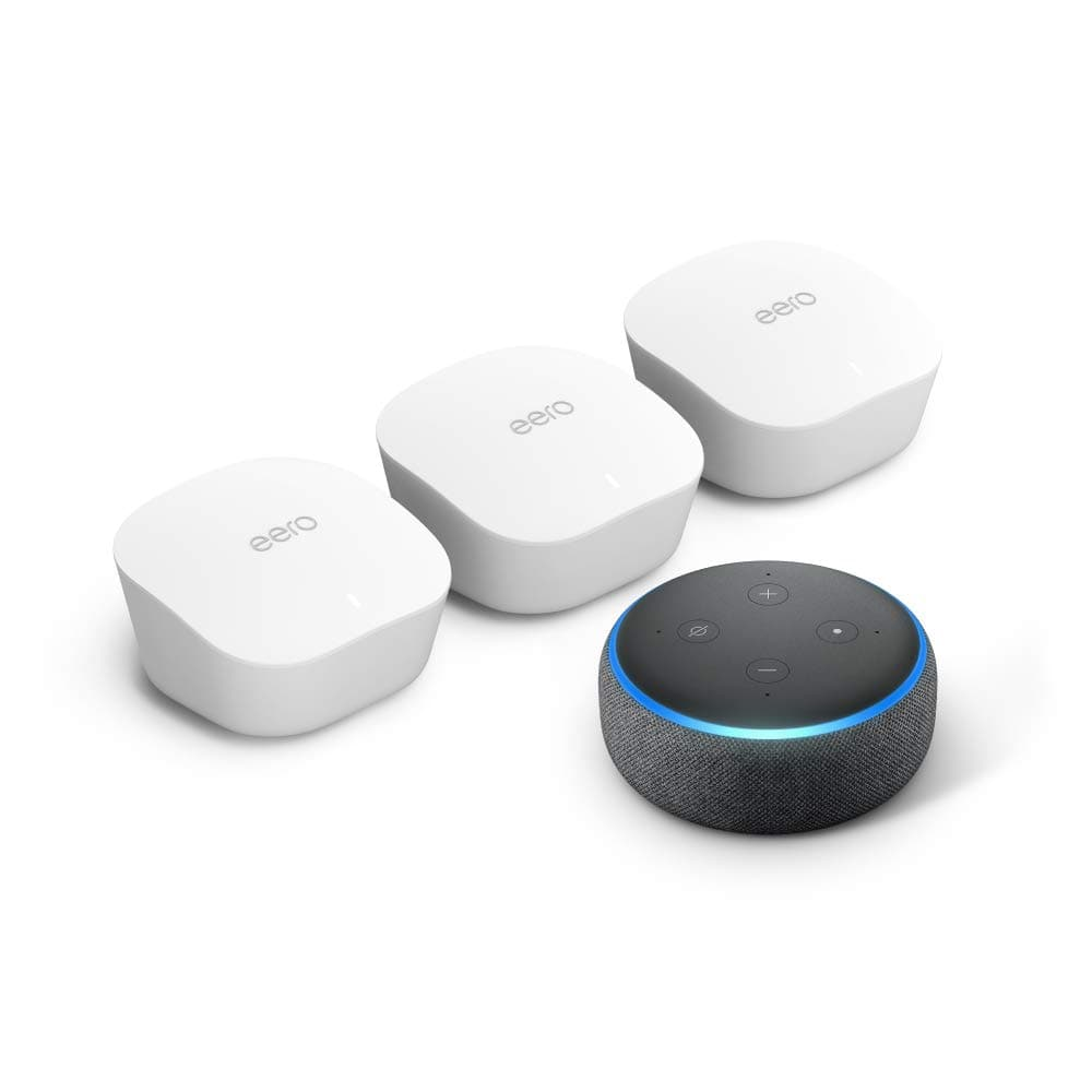 Amazon eero mesh WiFi system (3-pack) with free Echo Dot (Charcoal) $190