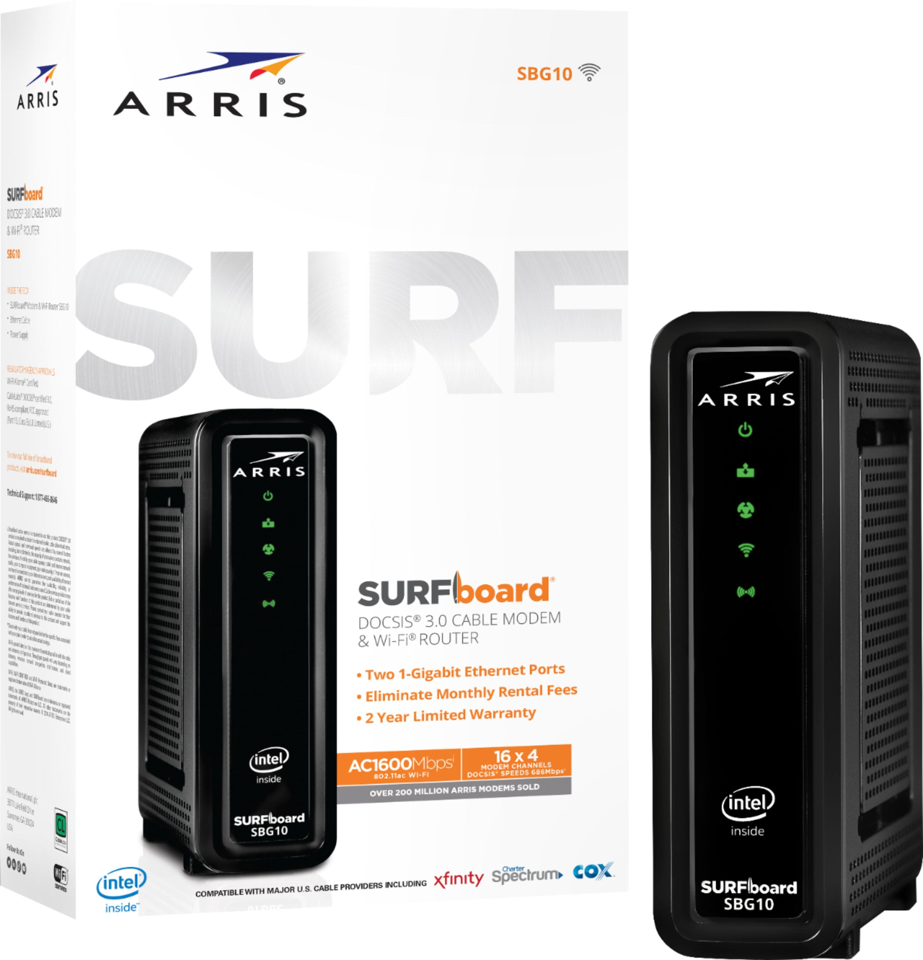 ARRIS - SURFboard AC1600 Dual-Band Router with 16 x 4 DOCSIS 3.0 Cable Modem - Black $100