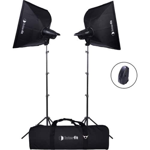 Studio Essentials 200Ws Value Flash Head 2-Light Kit with Softboxes and Wireless Remote $200
