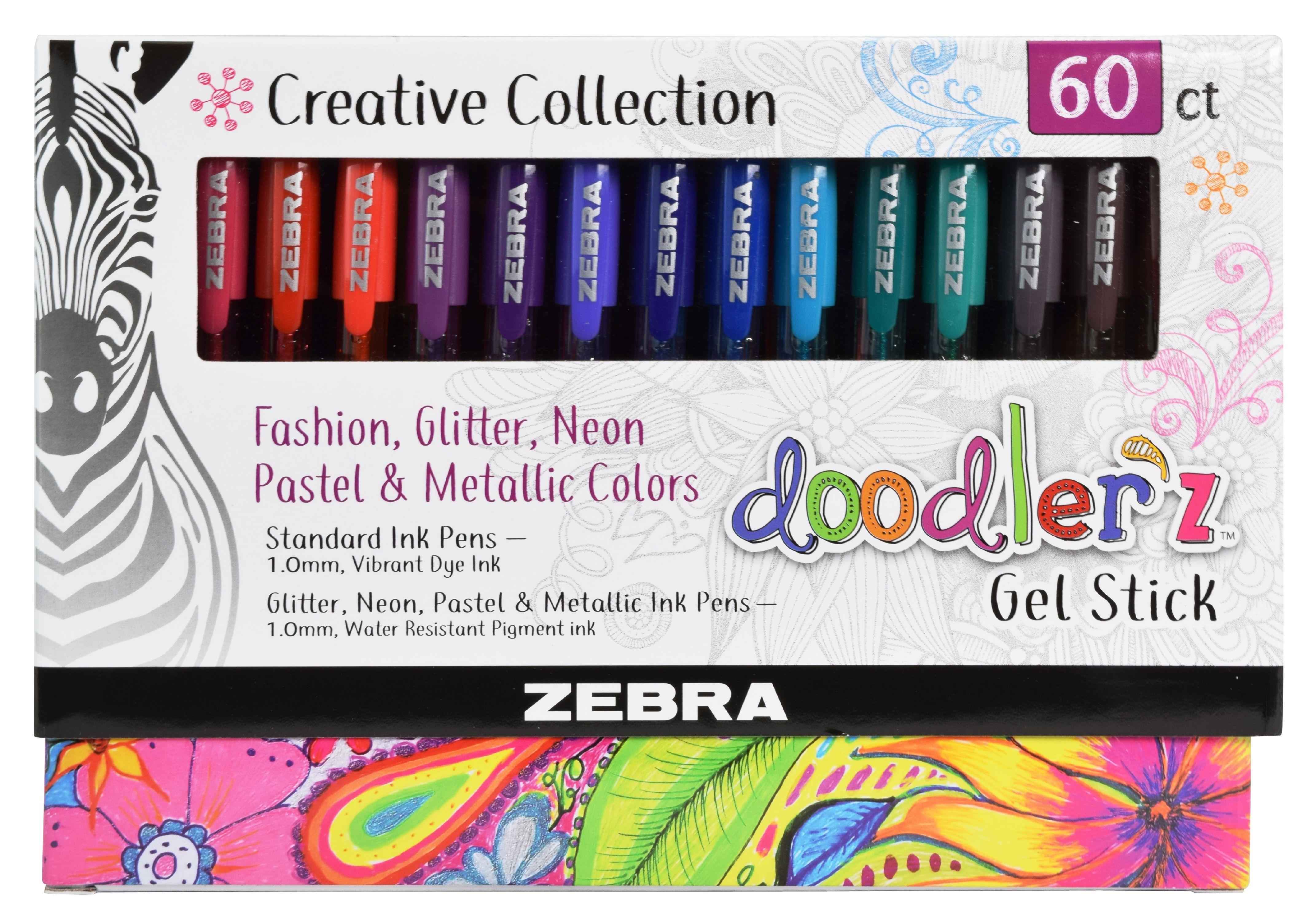 Zebra Pen Doodlerz Gel Stick Pen Mega Set, Bold Point 1.0mm, Assorted Colors, 60-Count $13