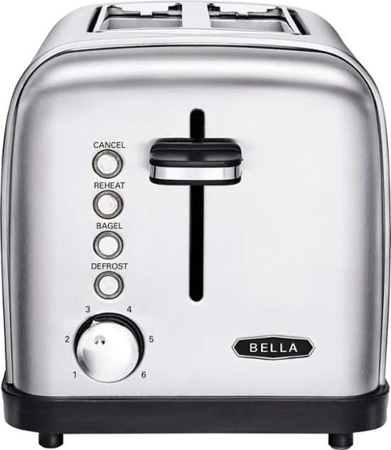 Bella - Classics 2-Slice Wide-Slot Toaster - Stainless Steel $15