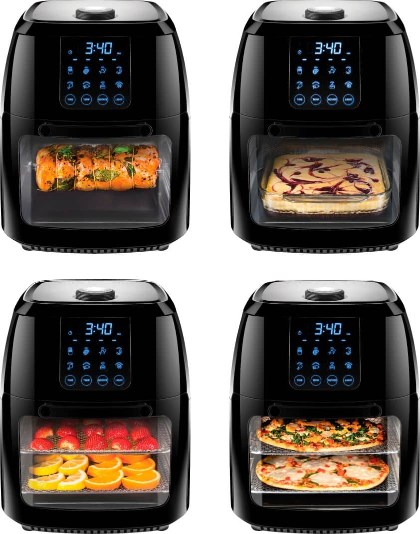 CHEFMAN - 6L Digital Air Fryer, Dehydrator, Rotisserie Combo - Black - Black $90