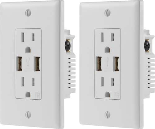 Dynex™ - 2.4A USB Wall Outlet (2-Pack) - White $15