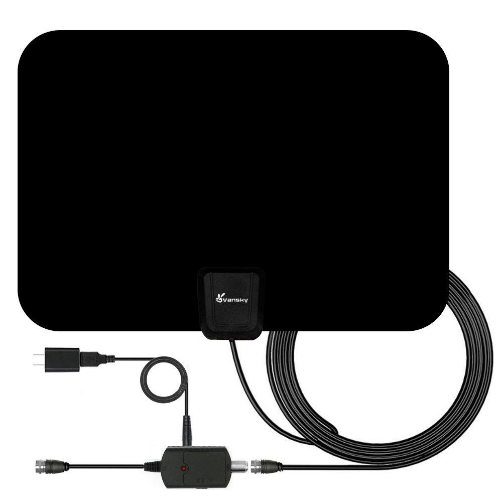 Vansky Indoor HDTV Antenna 50-Mile Range & Detachable Amplifier 16.5FT Cable $14.99 on Amazon