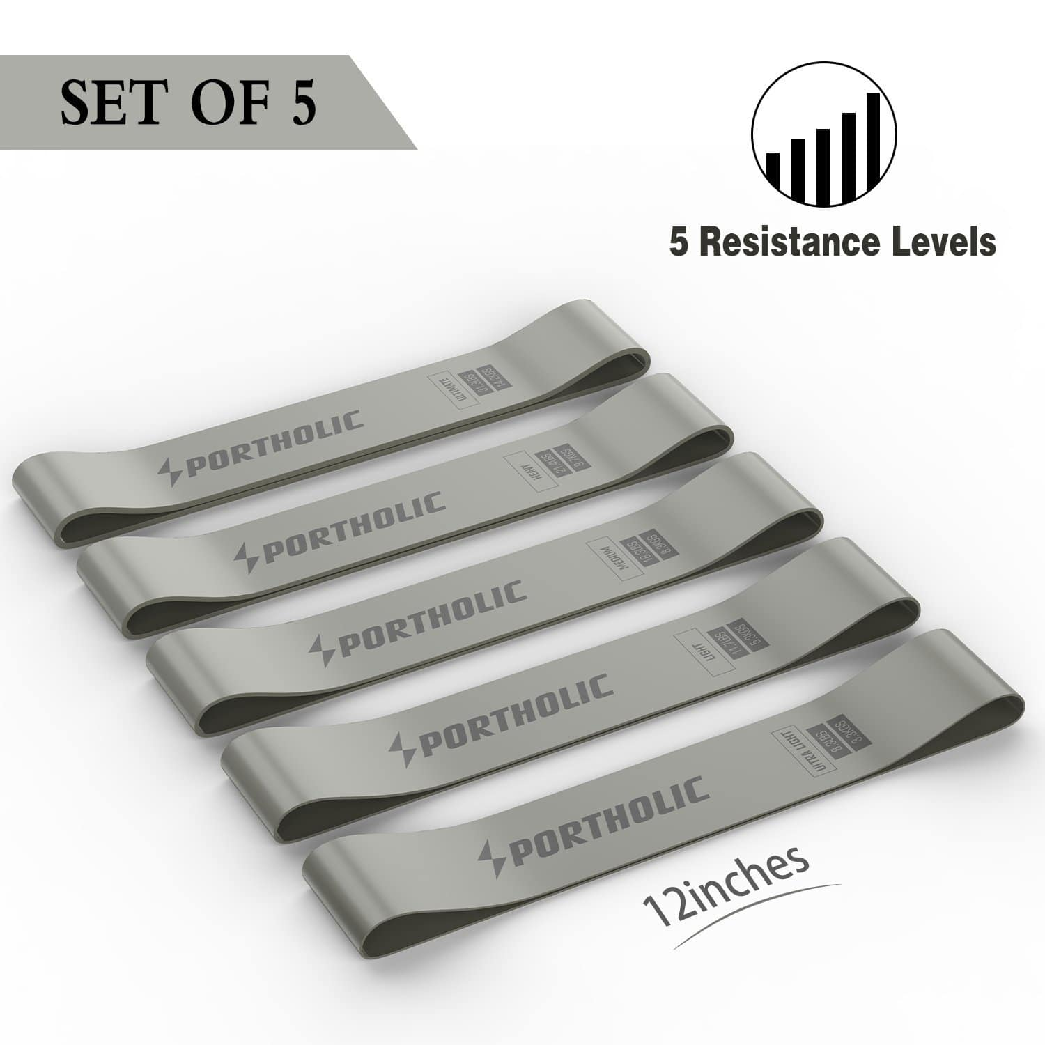 Set of 5 Exercise Resistance Loop Bands Home Fitness Yoga 12-Inch $6.76 FS w/Prime