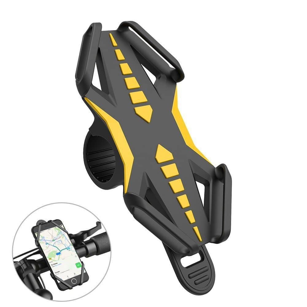 Bike Phone Mount Universal Anti-Slip Adjustable Bicycle Phone Holder Yellow $6.99 AC + FS
