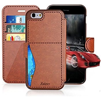 iPhone 8 / iPhone 7 / iPhone 6 Leather Wallet Case with Cards Slot and Metal Magnetic $3.99 AC & FS @ Amazon