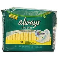 Amazon Deal: 18-Count Always Ultra Thin Unscented Pads with Wings, Regular - $1.84 w/S&S and coupon, (Amazon Mom - $1.39)