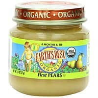 Amazon Deal: Earth's Best Organic Baby Food, Stage 1/Pears, 2.5 Ounce Jar (Pack of 12) - $6.84 w/S&S, (As Low As - $6.12)