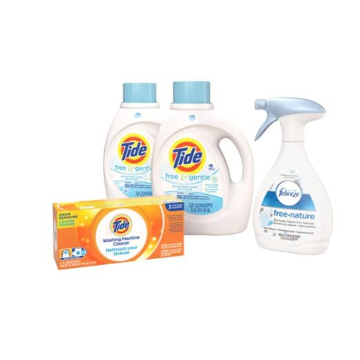 Tide Free & Gentle Liquid Detergent (2 x 75oz), Febreze Fabric Refresher Free Air Freshener (27oz), Tide Washing Machine Cleaner (3-ct) - $10.66 w/Coupon Amazon Prime
