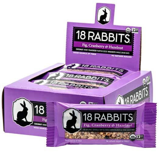 18 Rabbits Organic Gluten Free Granola Bar, Fig, Cranberry and Hazelnut, 1.6 Ounce (Pack of 12) - $2.13 Prime Pantry item