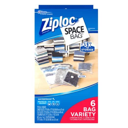 Ziploc Space Bag, Variety Pack, 6 Count (Flat Bag: 2 Medium, 2 Large,1 XL; 1 Space Cube) - $4.75 w/S&S, (As Low As - $4.25)