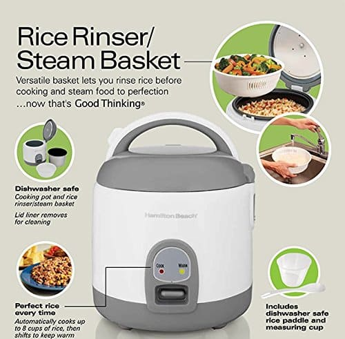 Hamilton Beach Rice Cooker with Rinser/Steam Basket (4 Cups uncooked resulting in 8 Cups cooked) 37508 $24.99