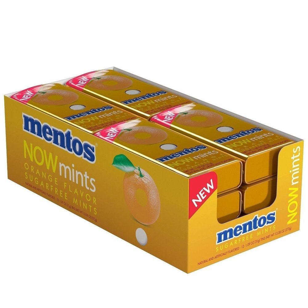 Details about  Case of 12 Mentos NOWmints Orange Flavor Sugar-Free Mints Tin Packs - 1.9 oz $14.99 f/s Ebay