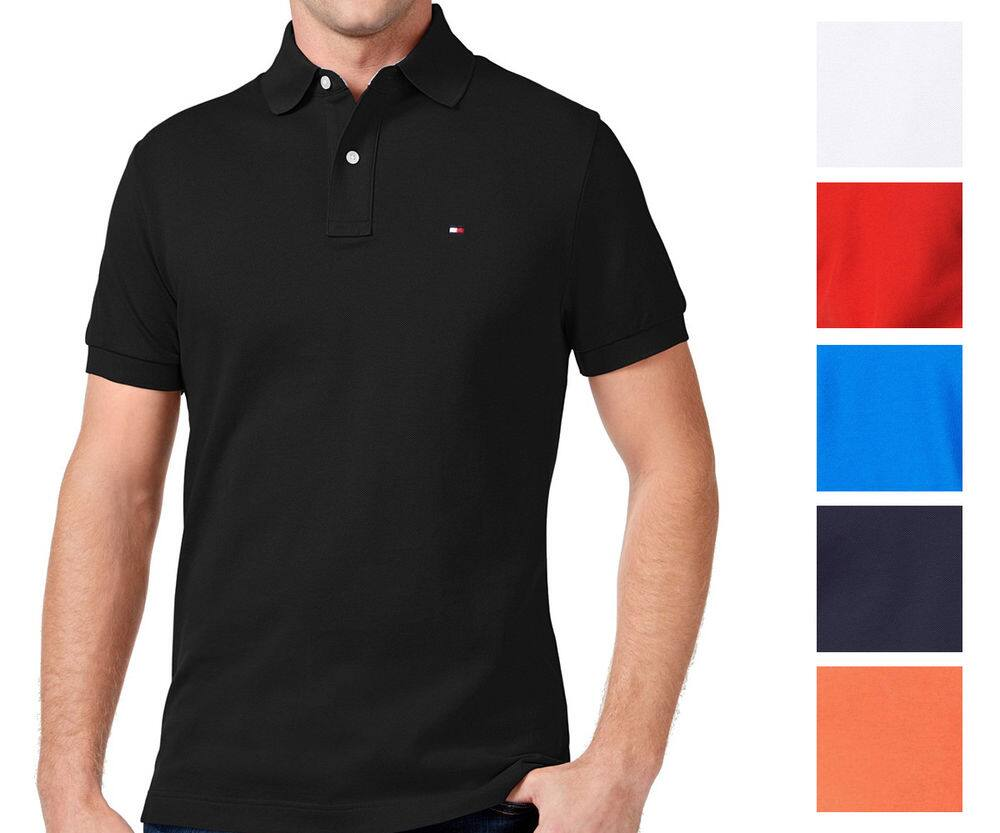 241d14a1f9e Tommy Hilfiger NEW Custom Fit Men s Solid Short Sleeve Pique Polo Shirt   22.99 Ebay  23