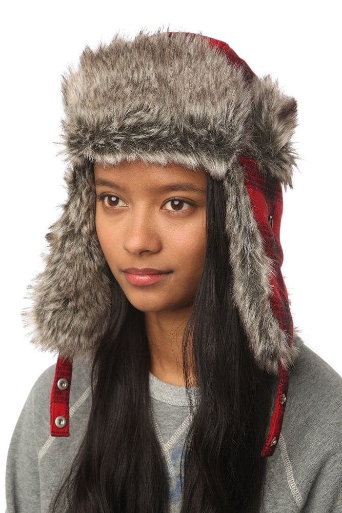 a57a6ad567d Urban Outfitters Wool Faux Fur Buffalo Plaid Winter Trooper Aviator Trapper  Hat  17.99 Ebay