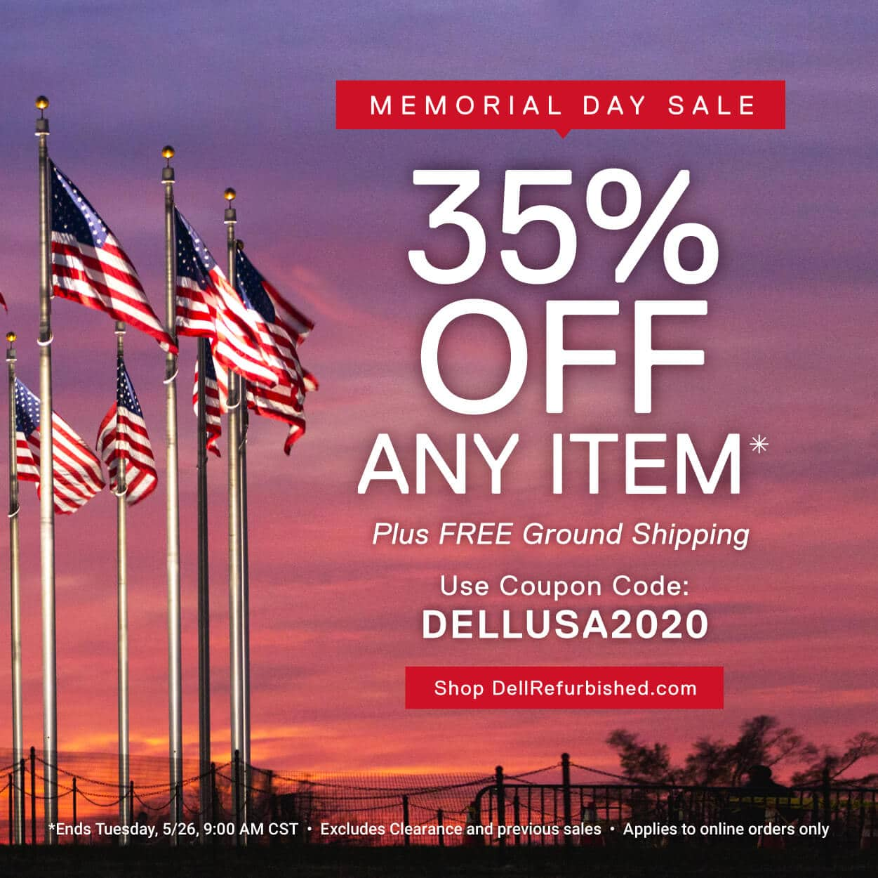 Dell Refurbished Memorial Day Sale: 35% off any item in stock, plus free ground shipping.