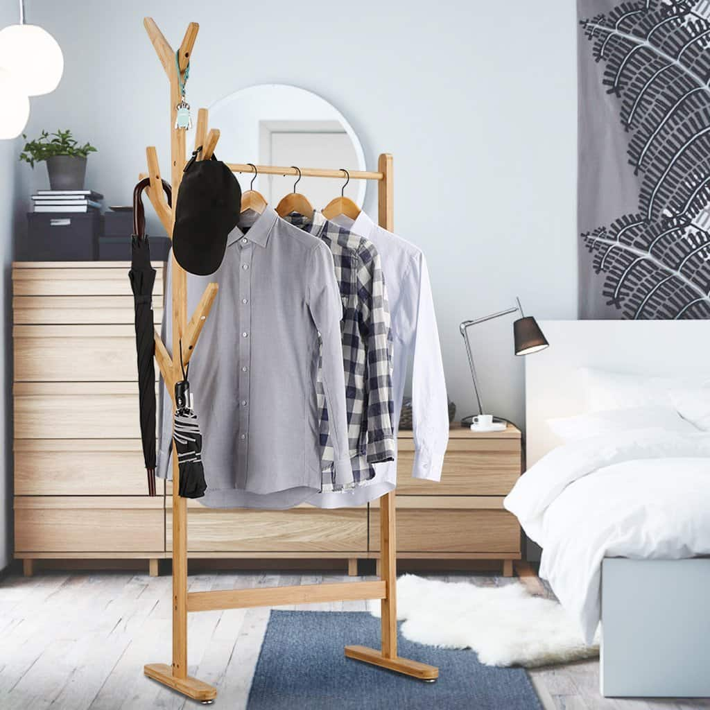 Heavy Duty Commercial Grade Clothing Garment Rack with Side 8-Hook Display Stand Hall Tree Branch Coat Rack $27.99