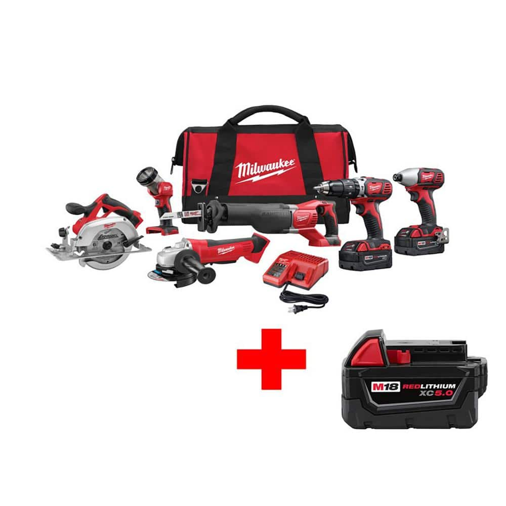 M18 18-Volt Lithium-Ion Cordless Combo Kit (6-Tool) - $450 @ Home Depot
