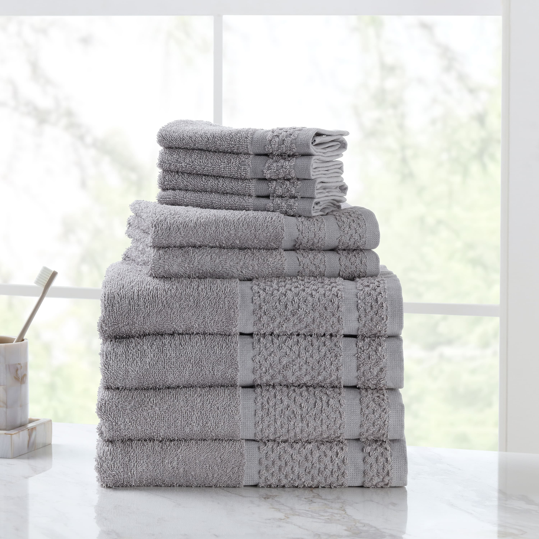 10-Piece Mainstays Value Cotton Bath Towel Set (Grey) $11.35 + Free S&H w/ Walmart+ or $35+