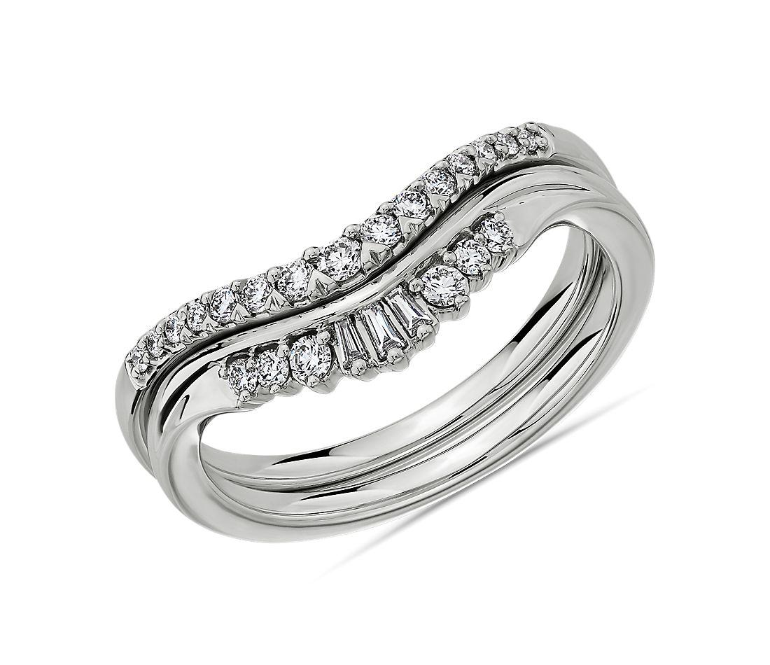 Blue Nile: Trio Baguette and Pavé Diamond Tiara Wedding Rings in 14K White Gold (Set of 2) $795 + Free Shipping