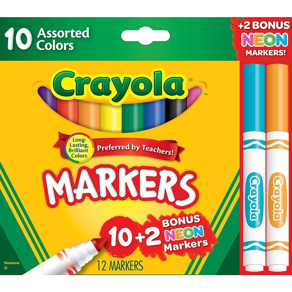 12-Ct Crayola Markers Assorted Colors Bonus Pack $1 or less w/ SD Cashback + Free Shipping  w/ Staples Rewards or $25+