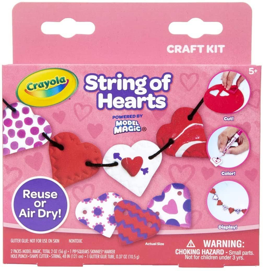 Crayola Model Magic: Kids' String of Hearts Valentine Craft Kit $2.50 + Free Shipping w/ Prime or $25+