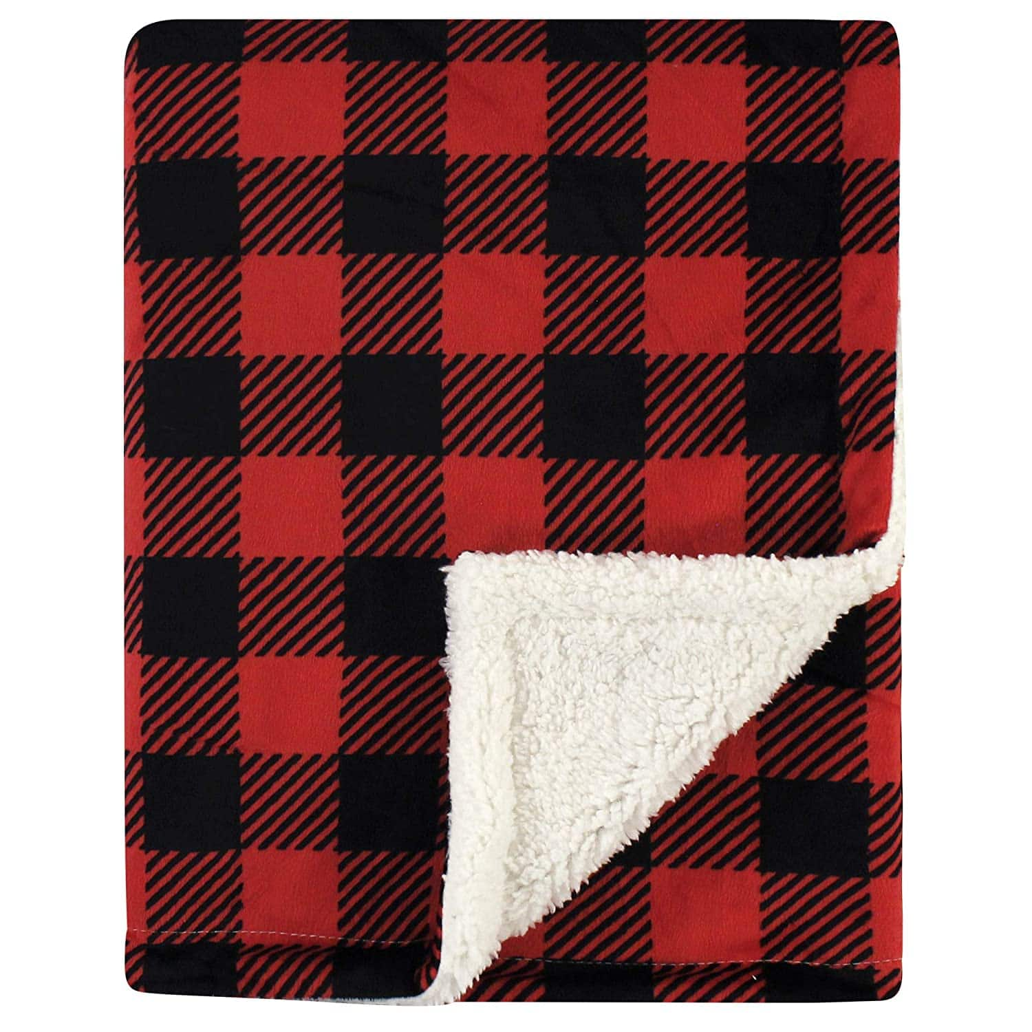 Hudson Baby Unisex Baby Plush Blanket with Sherpa Back (Buffalo Plaid) $7.50 & More + Free Shipping w/ Prime or $25+