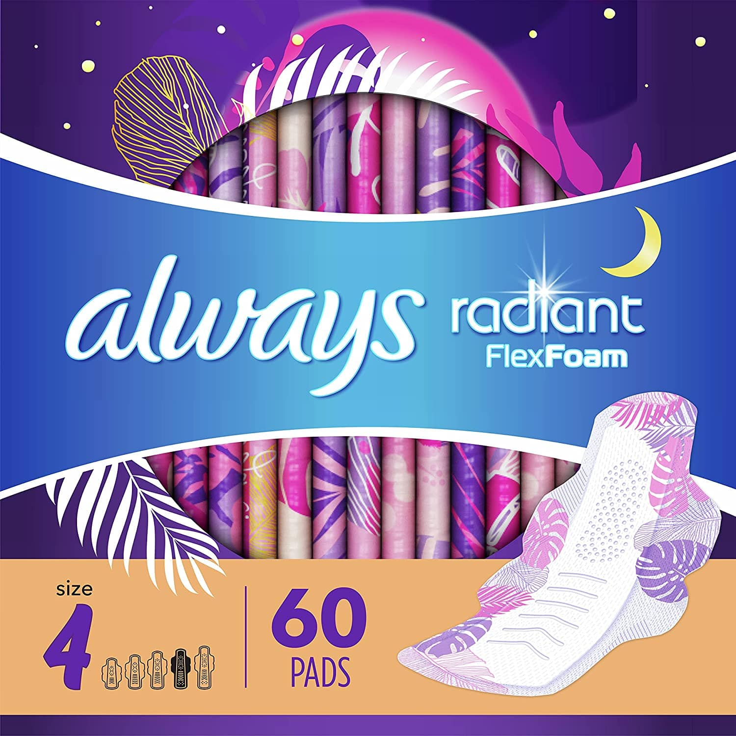 3-Pack 20-Count Always Radiant Feminine Pads for Women (Size 4, Overnight) $7 + Free Shipping w/ Prime or $25+