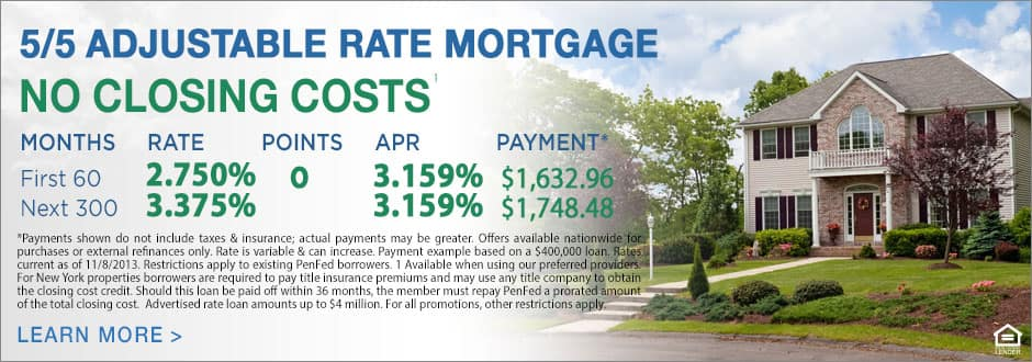 Pentagon Federal Credit Union (Penfed) 5/5 Adjustable Rate Mortgage Dropped to 2.625%, No Closing Costs