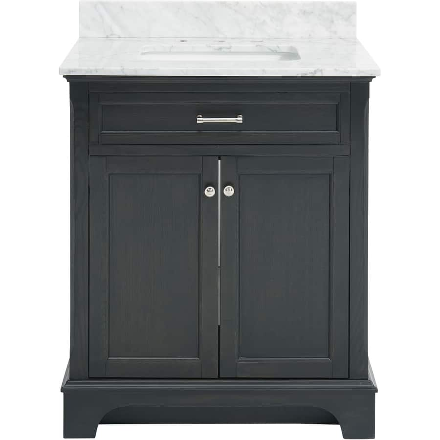 Perfect Lowe us allen roth Roveland Black Oak in Undermount Single Sink Bathroom Vanity