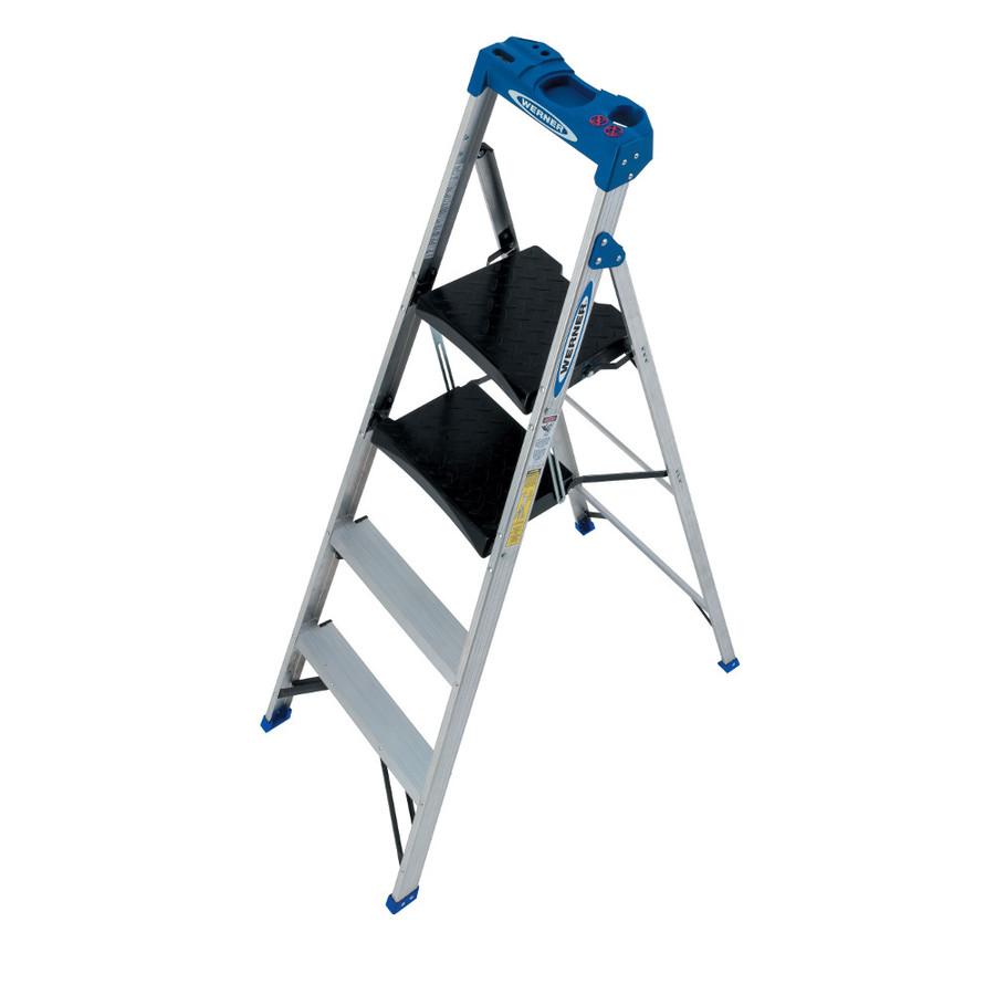 Lowe S Werner 4 Step 250 Lb Aluminum Compact Step Ladder