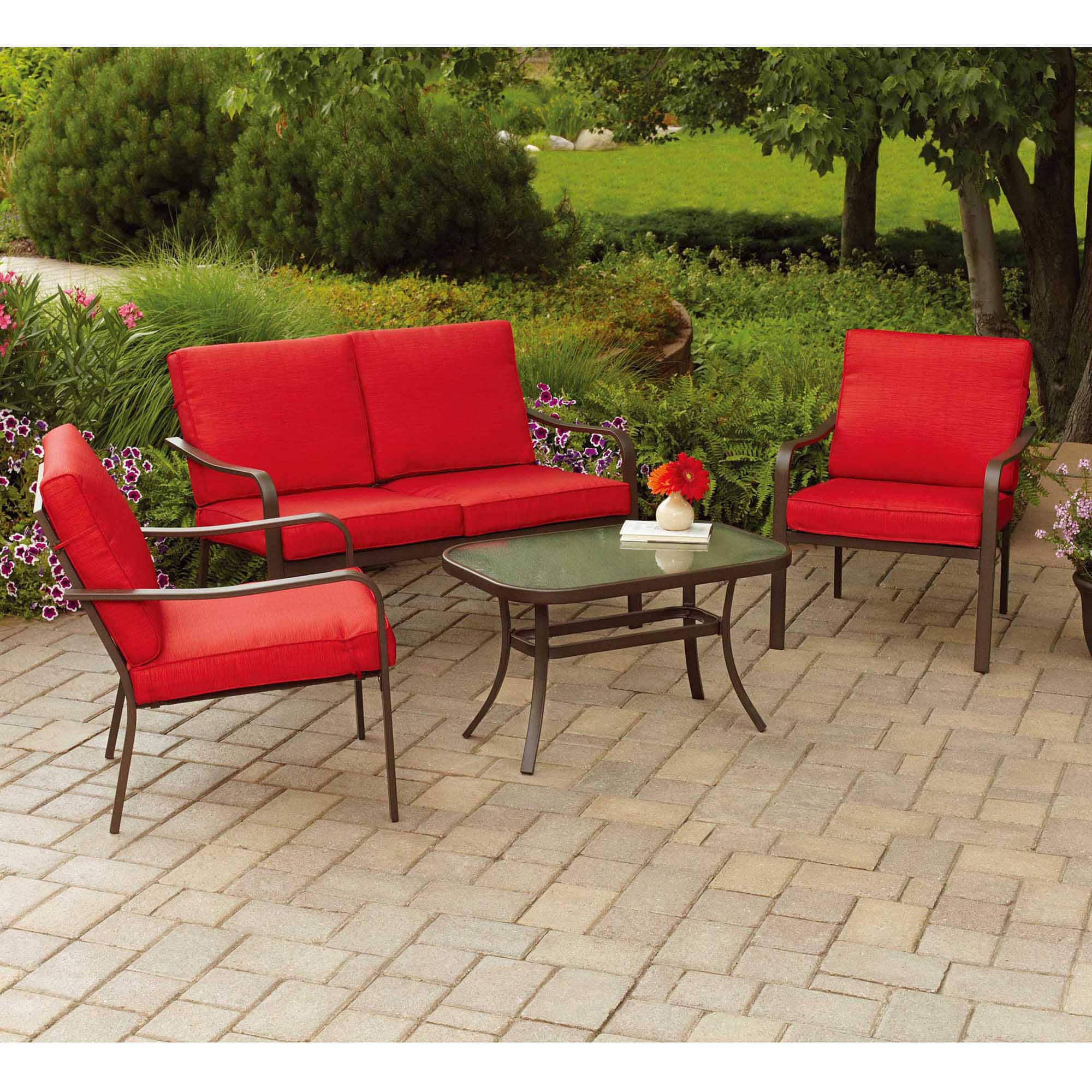 Walmart: Mainstays Stanton Cushioned 4-Piece Patio Conversation Set (Tan) $149 + Free Shipping