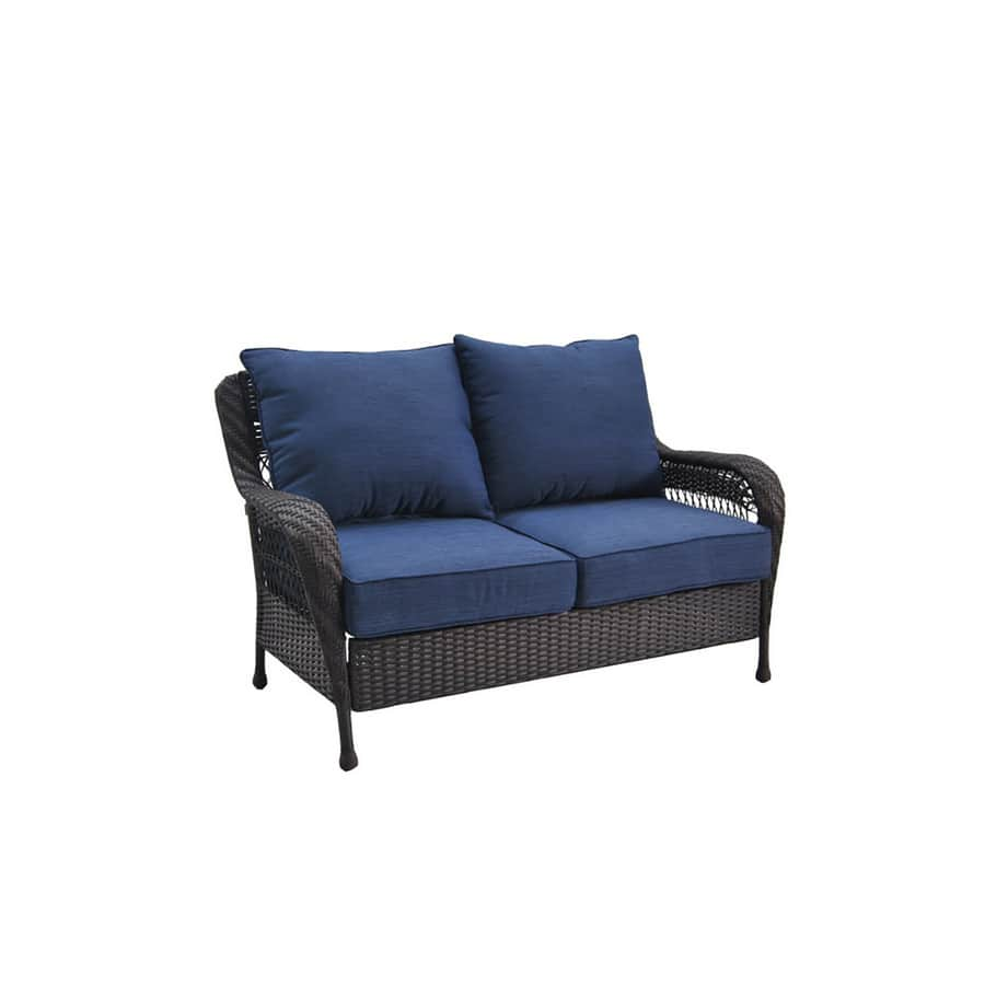 lowes allen roth glenlee brown wicker 2 seat patio loveseat with blue cushions - Lowes Patio Furniture 2