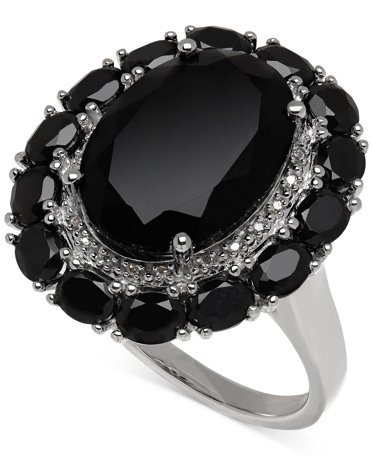 Macy's: Onyx and Diamond Accent Ring in Sterling Silver $58.99 + Free Shipping