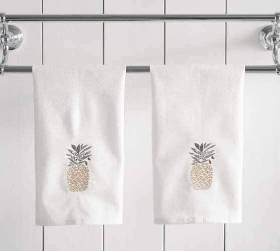 Pottery Barn: Set of 2 Pineapple Embroidered Guest Towels $5 + Free Shipping