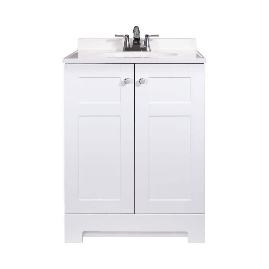 Lowe 39 S Style Selections White Integral Single Sink Vanity With Cultured Marble Top Chrome