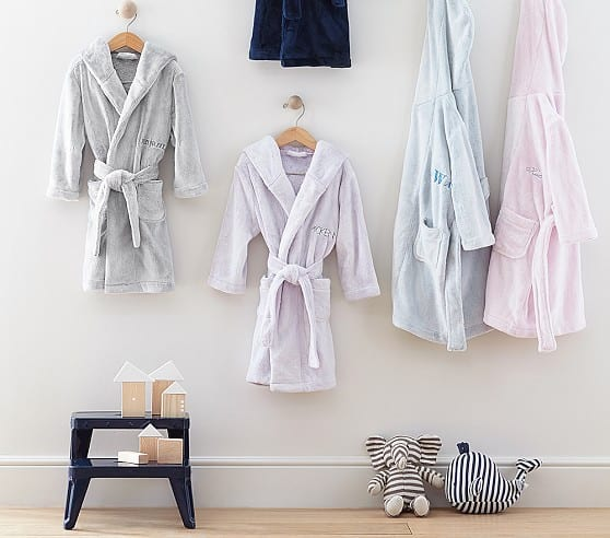 Pottery Barn Kids: Solid Plush Robe, Kids Medium, Navy $14 + Free Monogramming + Free Shipping (Reg. $49.50)