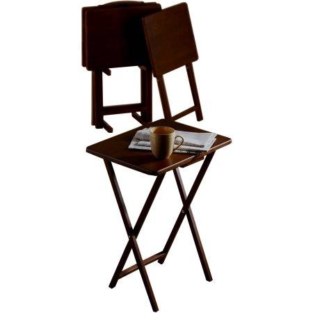 Walmart: Four Solid Wood TV Tray Tables & Rack (Walnut) $19.50