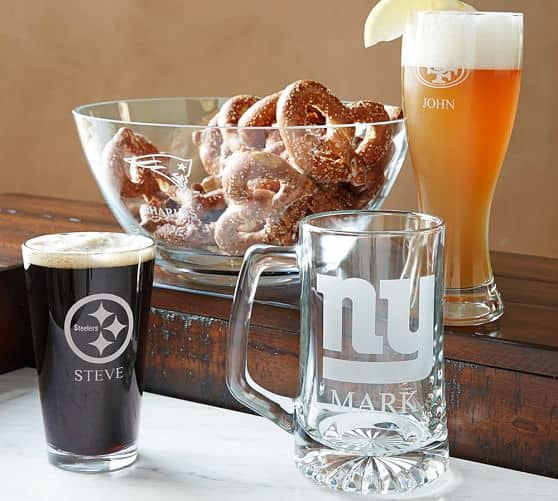 Pottery Barn: NFL Pint Beer Glasses $14 + Free Monogramming + Free Shipping