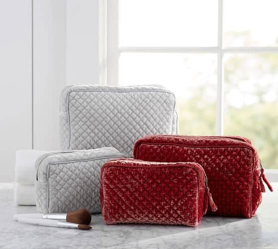 Pottery Barn: Quilted Velvet Cosmetic Bags Set of 2 (Gray) $12.99 + Free Shipping (Reg. $42)